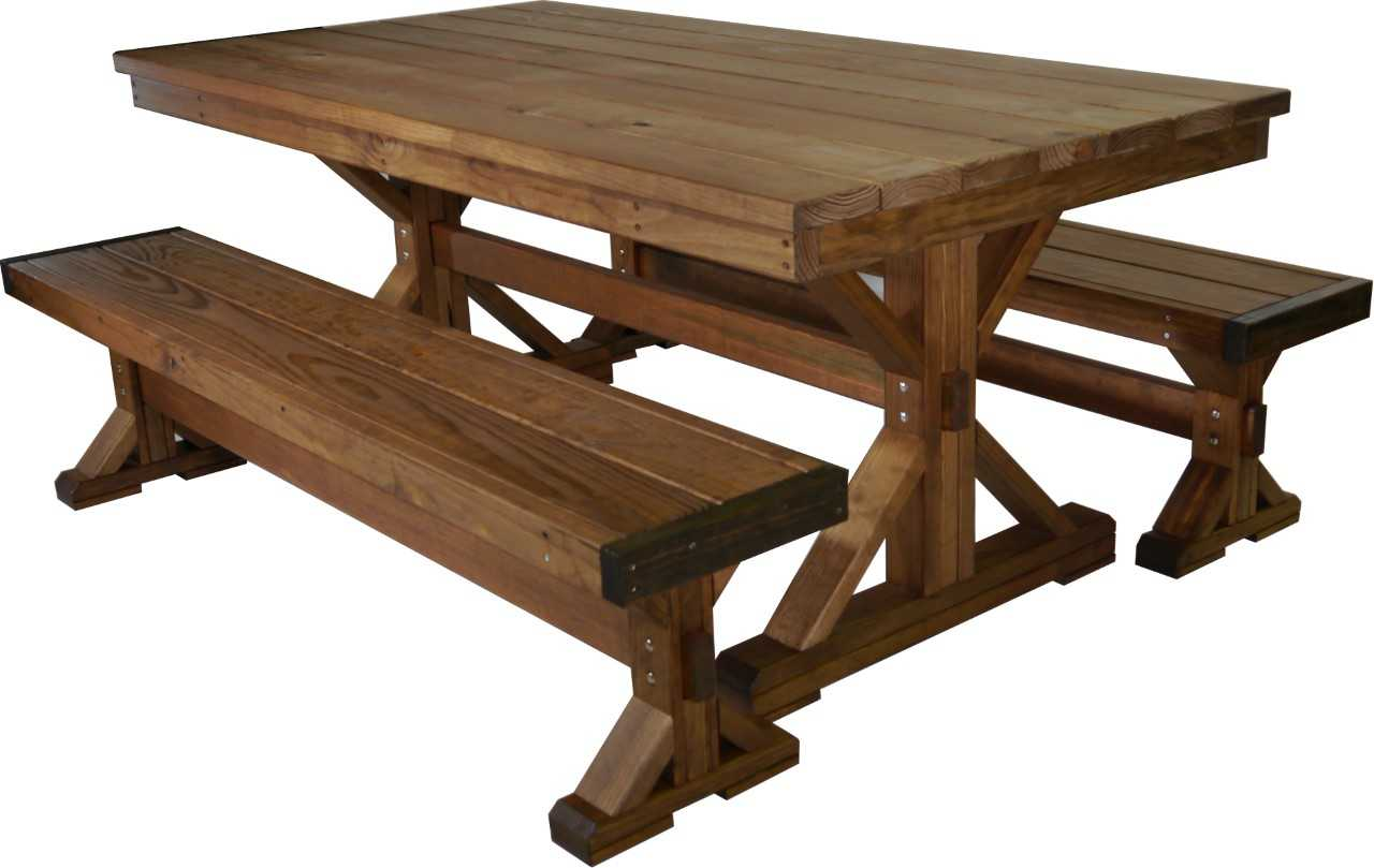"6' Farmhouse Table with Unattached Benches  Table: 71"" Long X 37 1/2""  Deep X 30"" Tall Benches: 71"" Long X 17"" Tall X 13 1/2 Deep"""