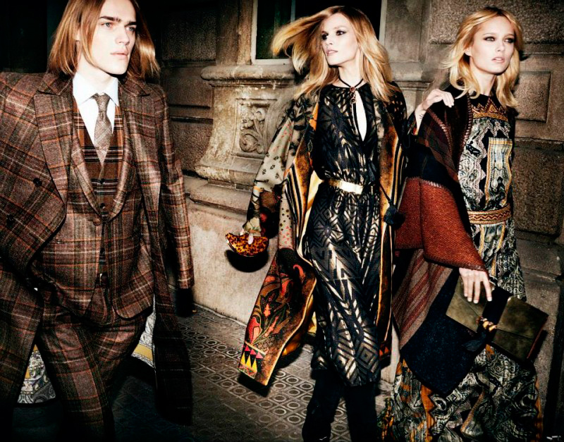 First look at Etro's Fall/Winter 2014 campaign, featurin g Ton Heukels , Karmen Pedaru and Suvi Koponen.