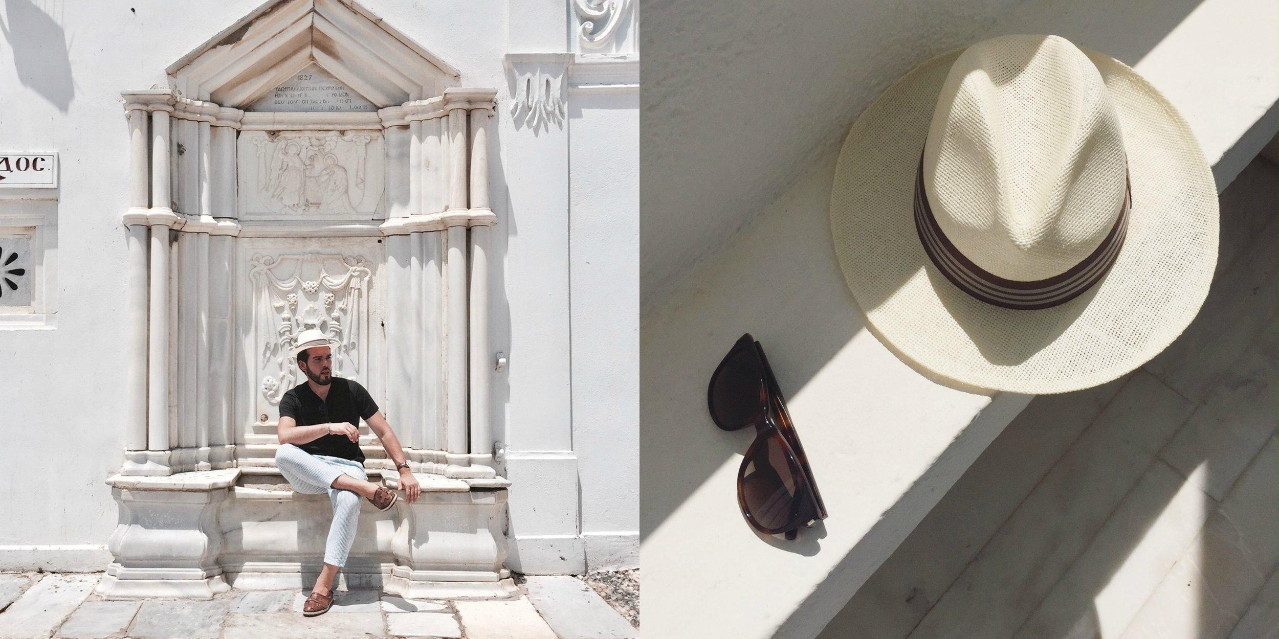 Hat: Paname Hat / Sunglasses: YSL / Shoes: Santoni Shoes / T-shirt & Pants : Cos