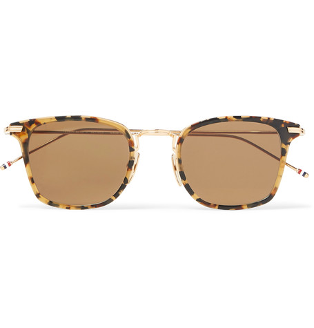 THOM BROWNE Square-Frame Acetate And Gold-Tone Sunglasses