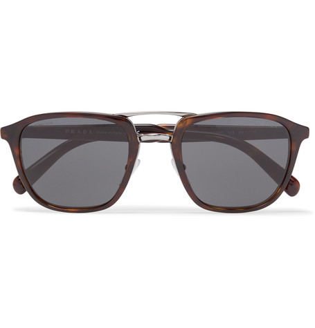 PRADA Square-Frame Tortoiseshell Acetate And Silver-Tone Sunglasses