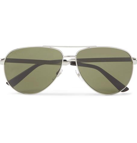 GUCCI Aviator-Style Enamelled Silver-Tone Sunglasses
