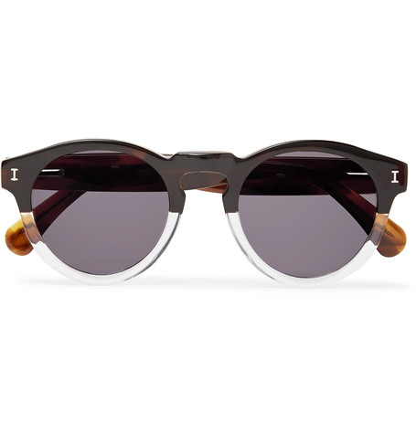 ILLESTEVA Leonard Round-Frame Two-Tone Acetate Sunglasses
