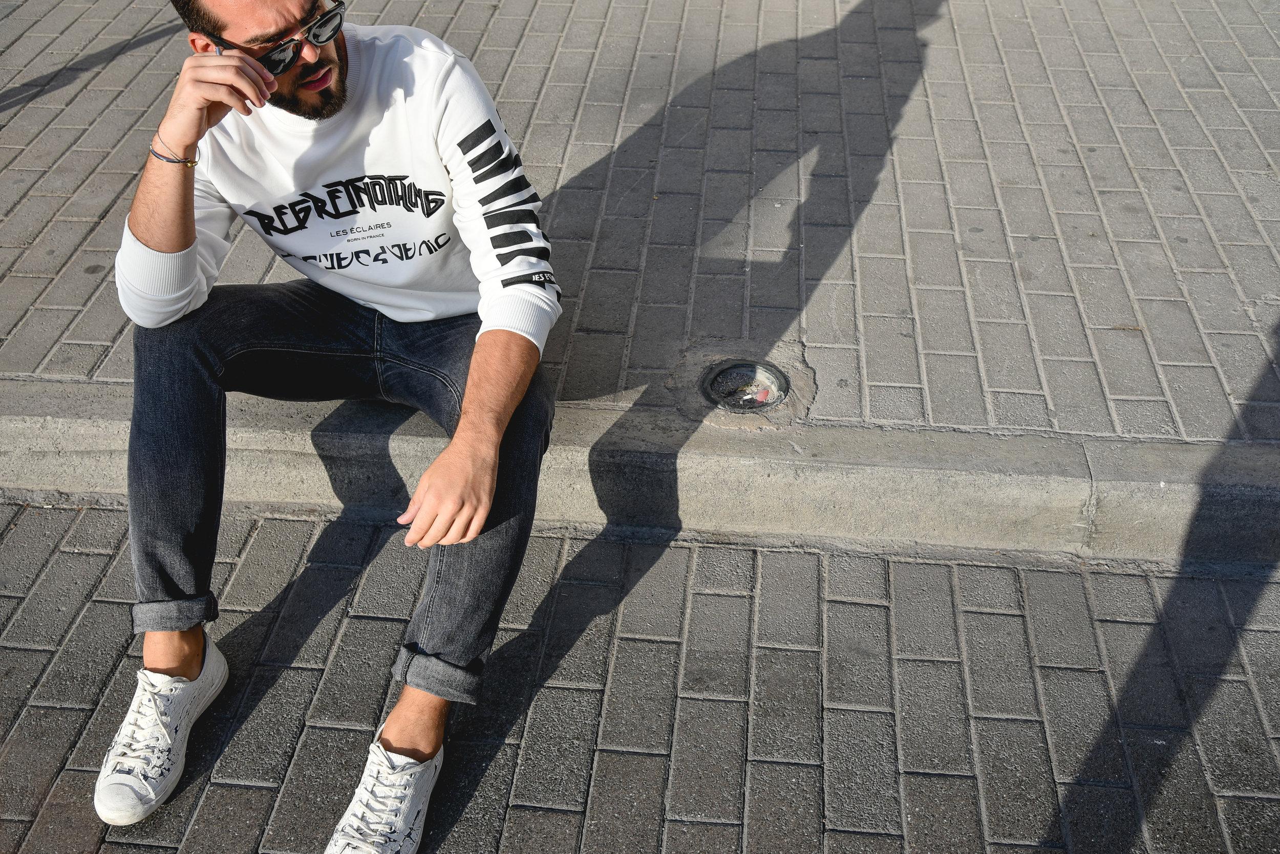 Hoodie: Les Eclaires / Pants: G-Star Raw / Shoes: Converse x Maison Martin Margiela / Sunglasses: Celine