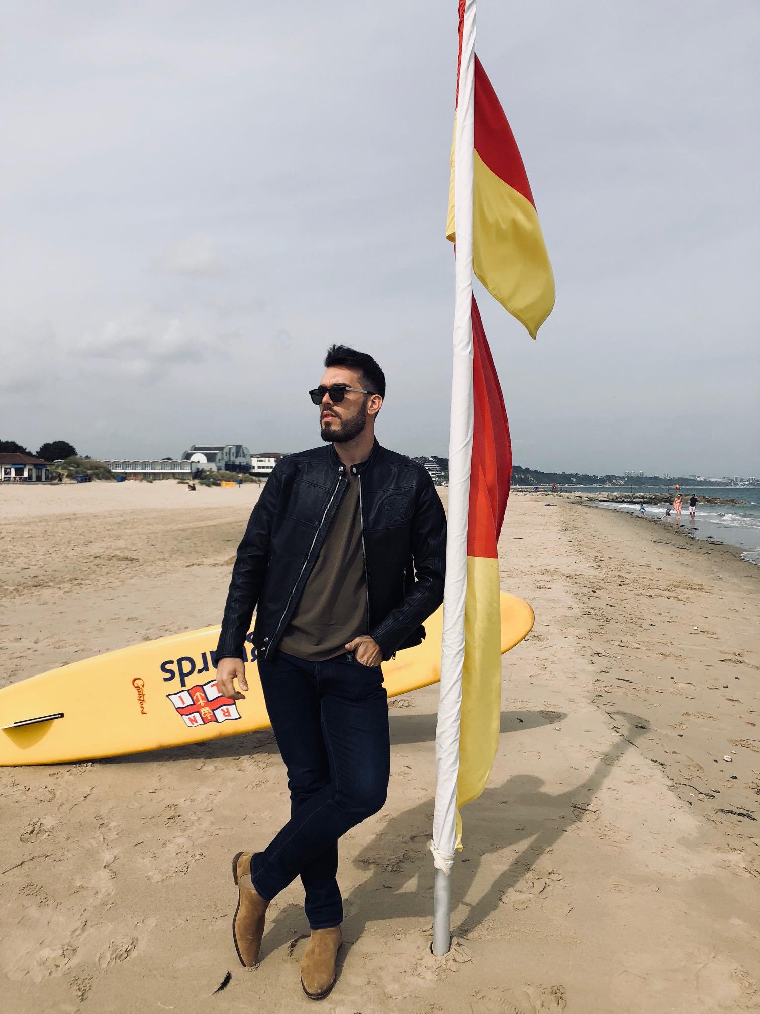 Leather Jacket: Diesel / Sunglasses: Saint Laurent