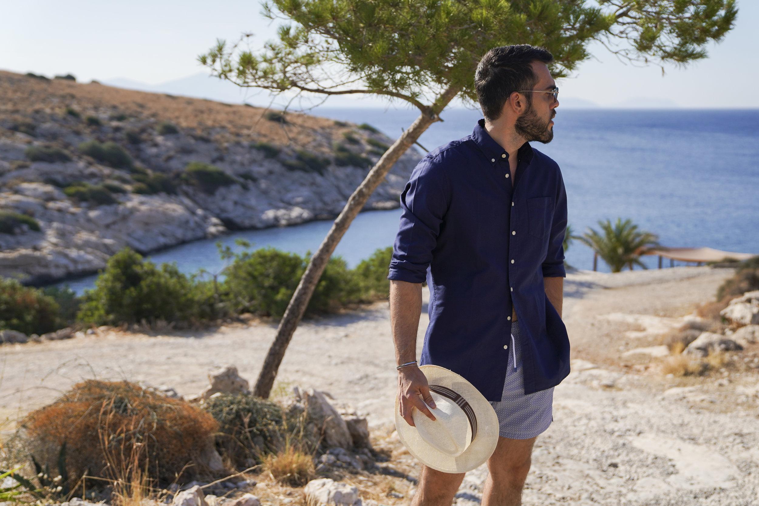 Swimsuit & Shirt: Hackett London / Sunglasses: Tomas Maier