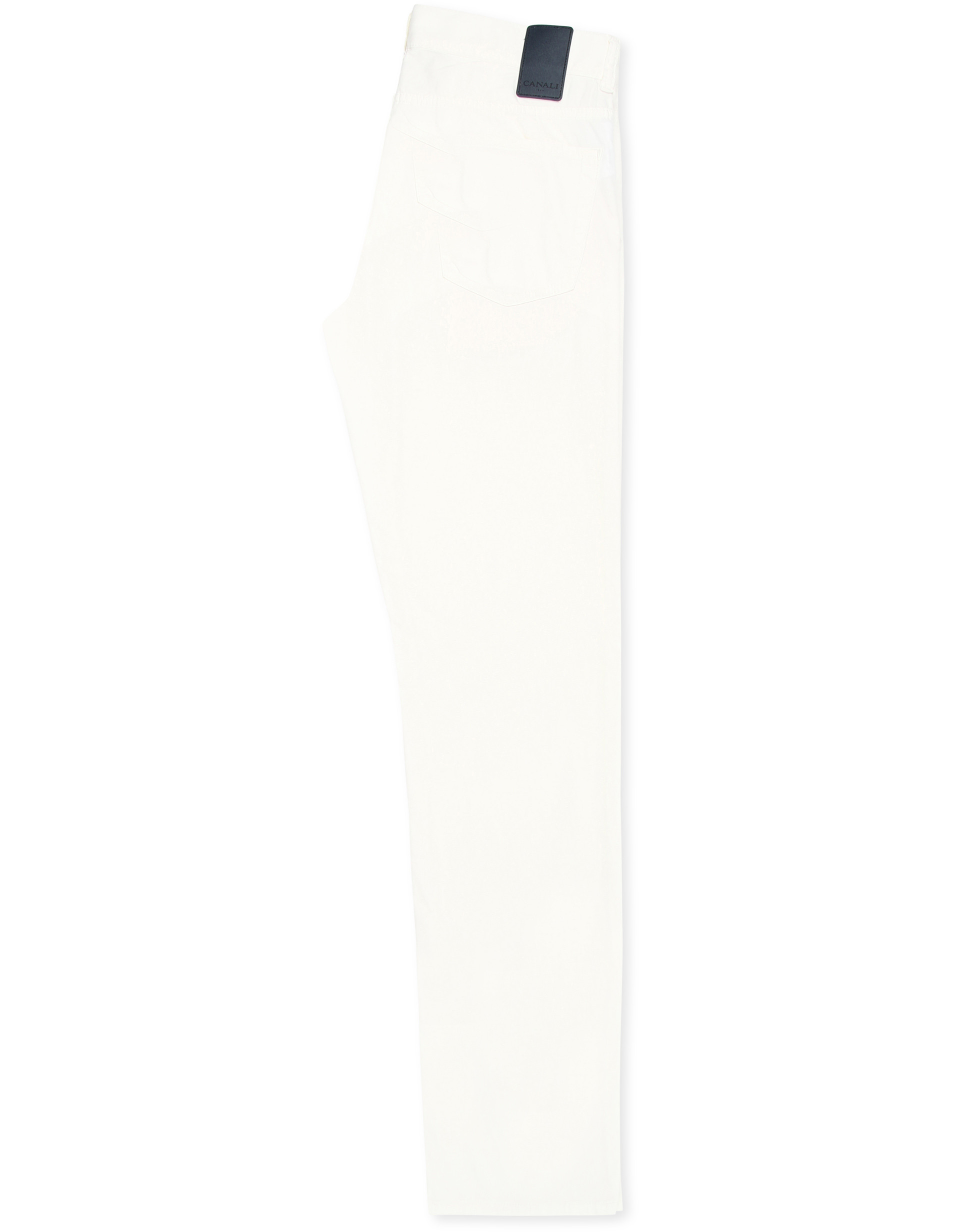 WHITE COTTON-SILK TWILL 5 POCKET PANTS