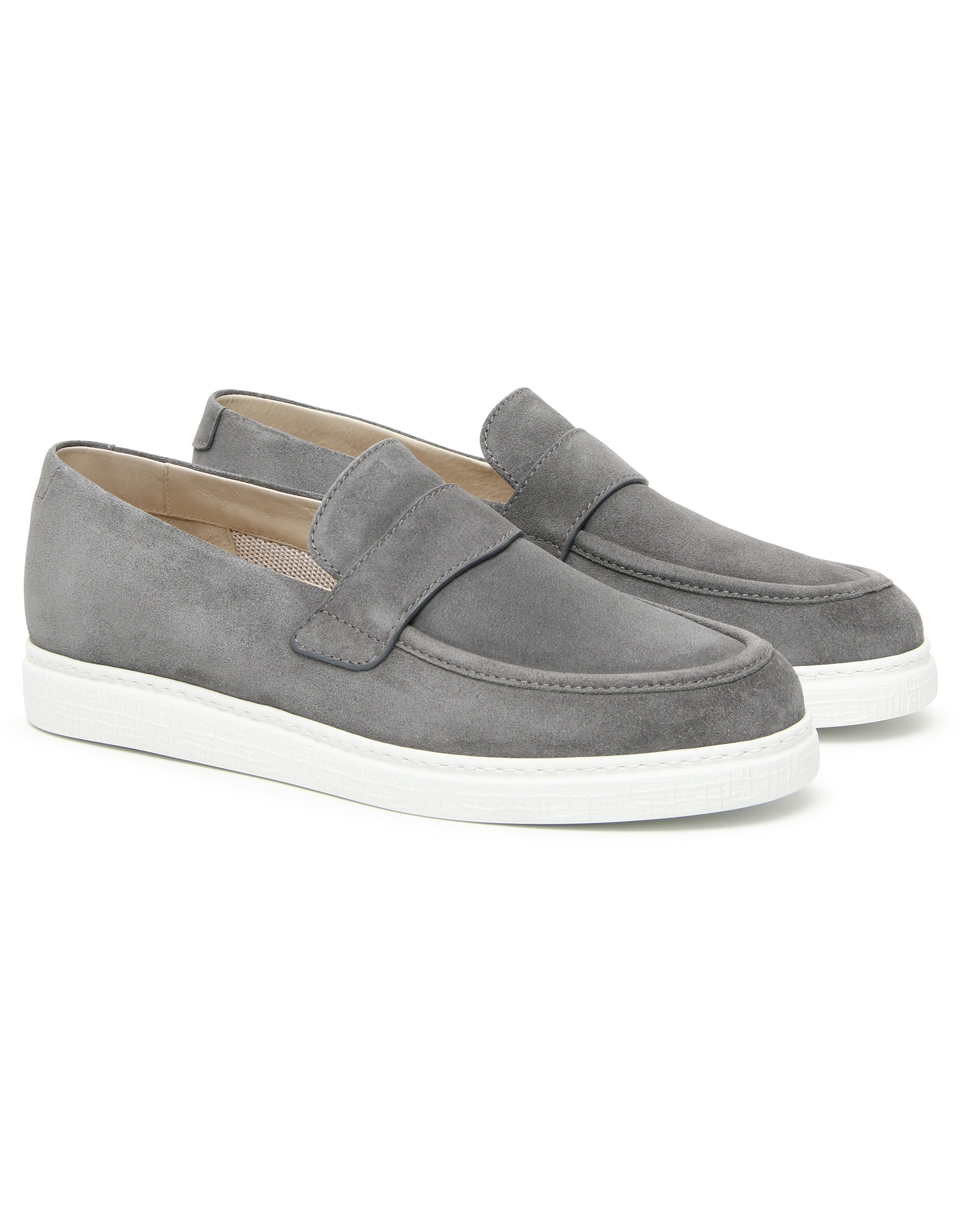 GRAY SUEDE SLIP ON SNEAKERS