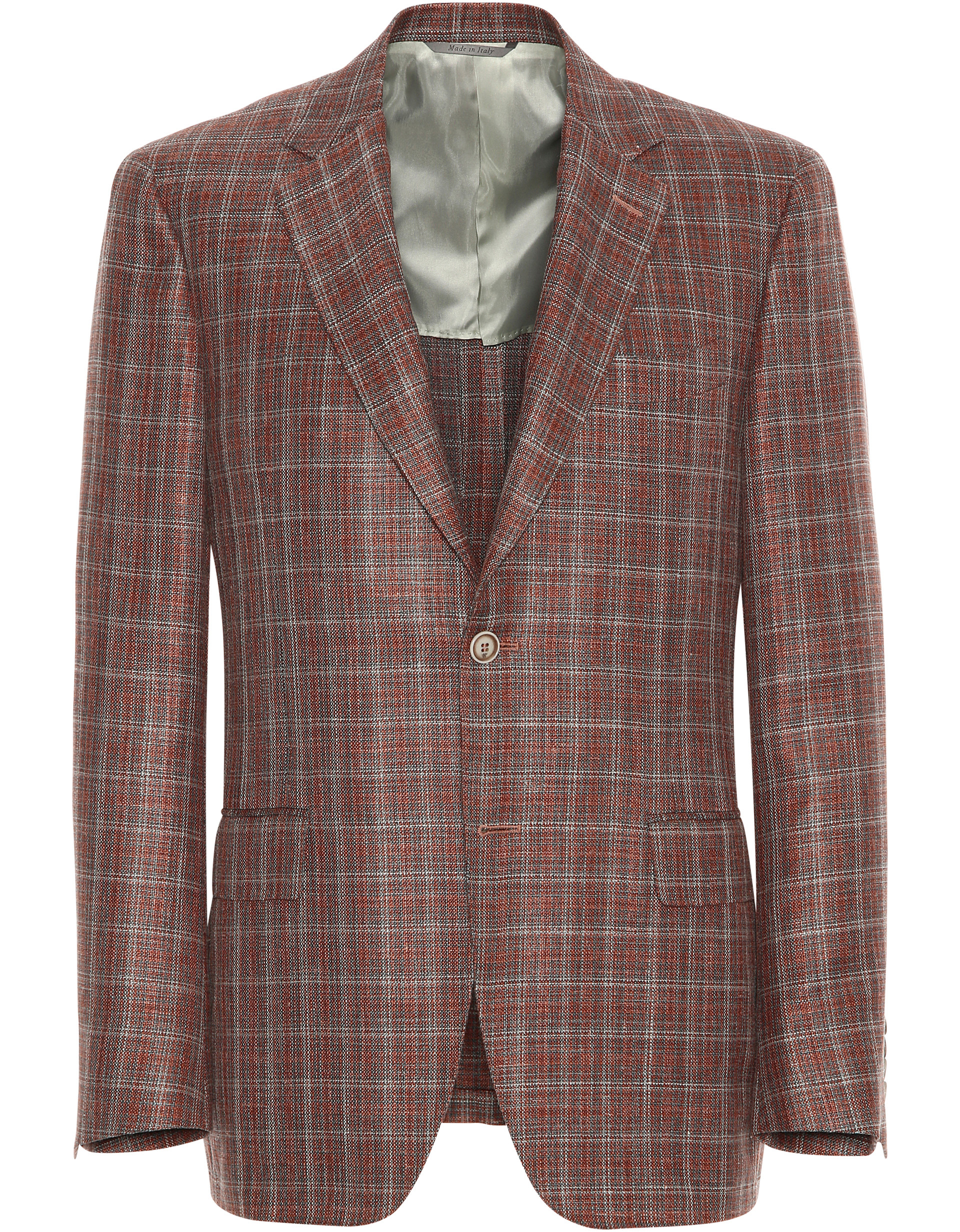BURNT SIENNA WOOL-SILK-LINEN BLAZER WITH MULTICOLOR MOTIF