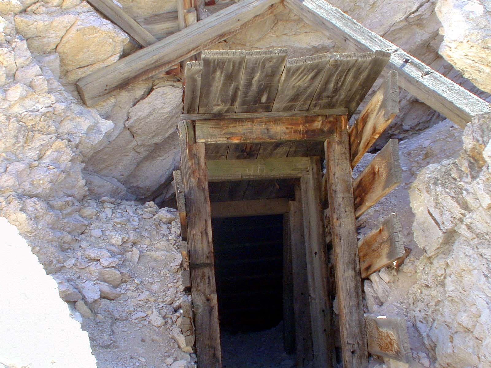 The Rhyolite mine entrance. Notice the classic mine architecture.