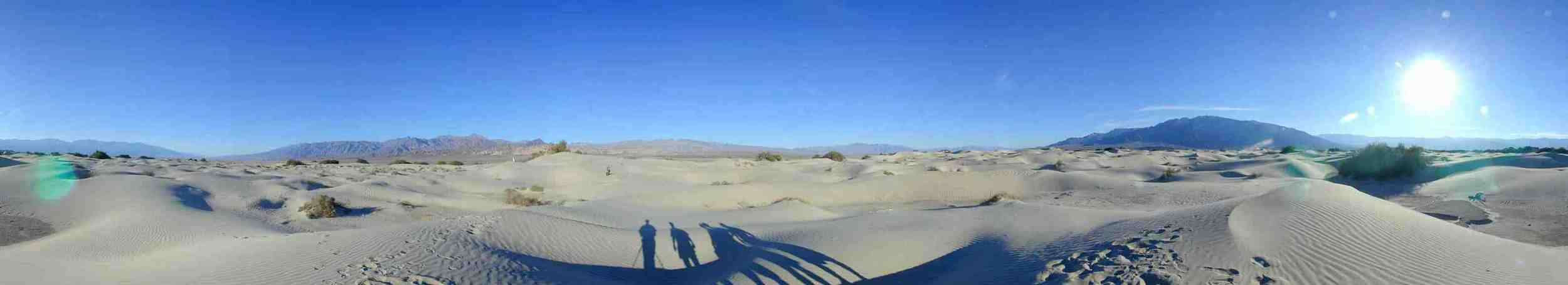 "Panorama from the top of the big dune.   36°38'38.8""N 117°04'33.9""W"
