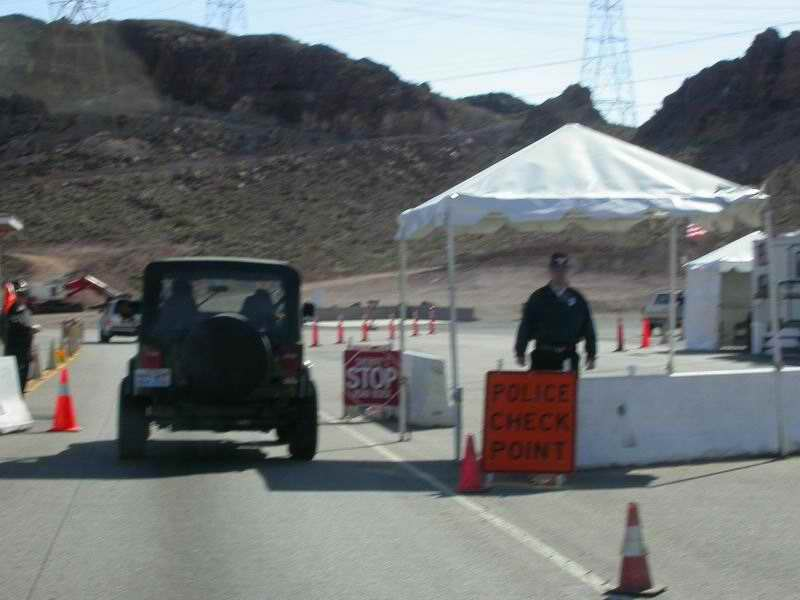 Police checkpoint prior to reaching Hoover Dam