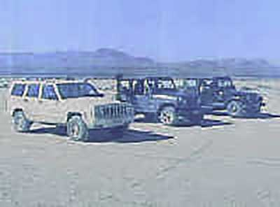 Lining up on the Jean dry lake