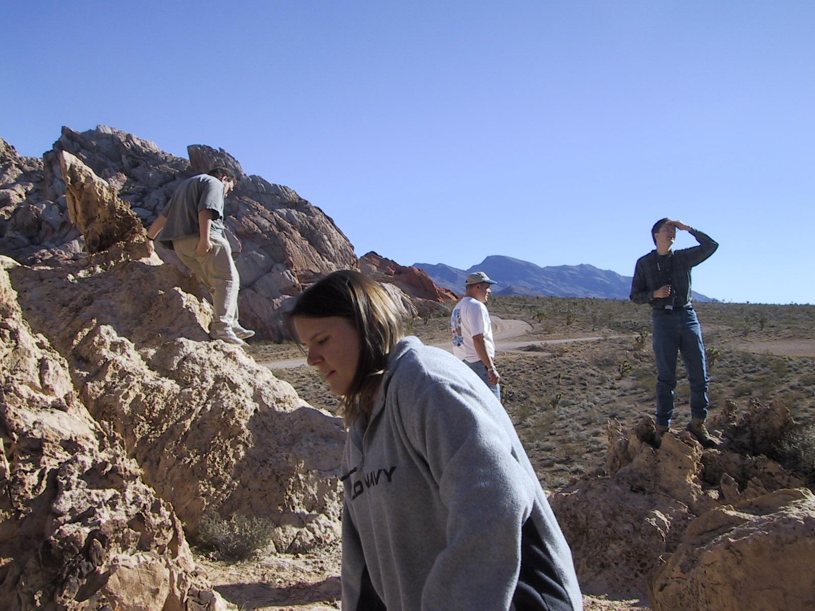 Scrambling over the rocks
