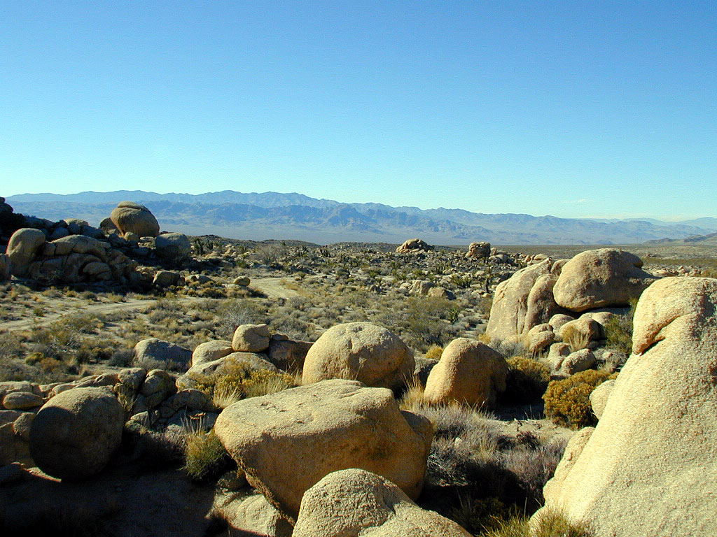 Field of boulders. They were all rounded and made of a strange rocky, yet crunchy, material.