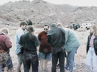 A crowd gathers to view the Desert Horned Lizard