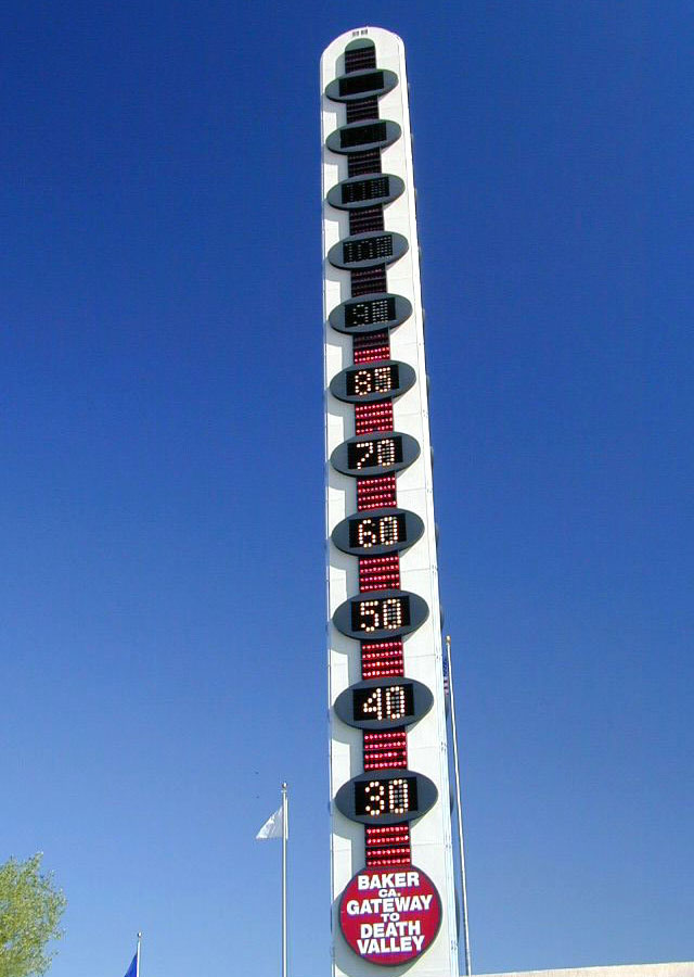 World's tallest thermometer! If you look closely, you can see the temperature is already 87 degrees.