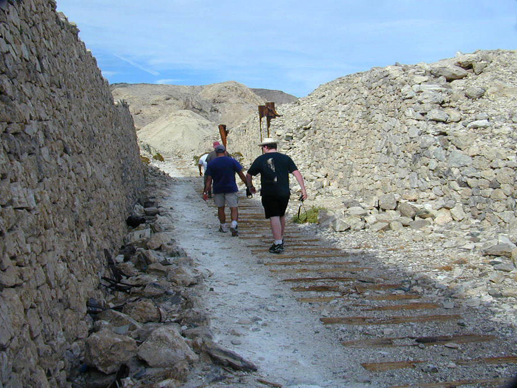Following down the mine cart tracks. The retaining wall is in remarkable condition.