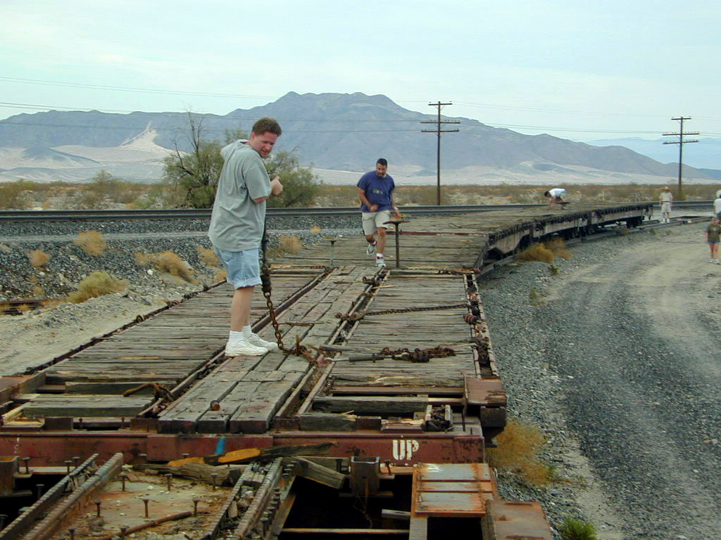 """Here is Matt """"liberating"""" a piece of the train."""