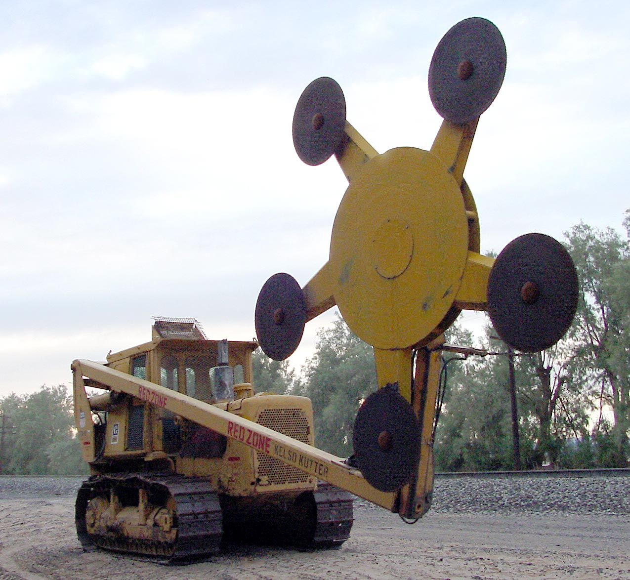 This tank is wielding rotating buzz saw blades of death.
