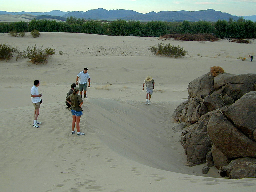 A sand pit (a.k.a., Sarlac pit) is discovered by an outcropping of rock.