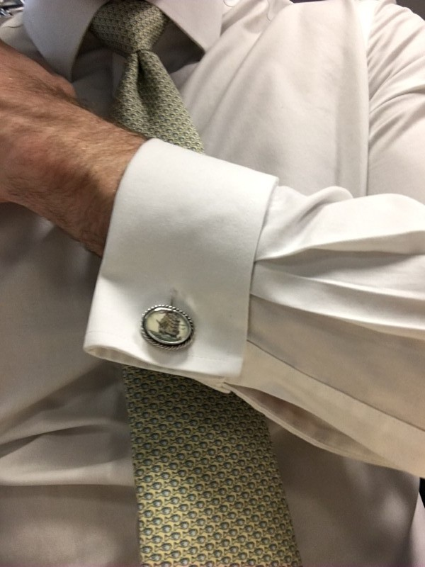 Dad's handmade sterling silver and scrimshaw cufflinks made for and modeled here by his middle grandson, Jonathan.