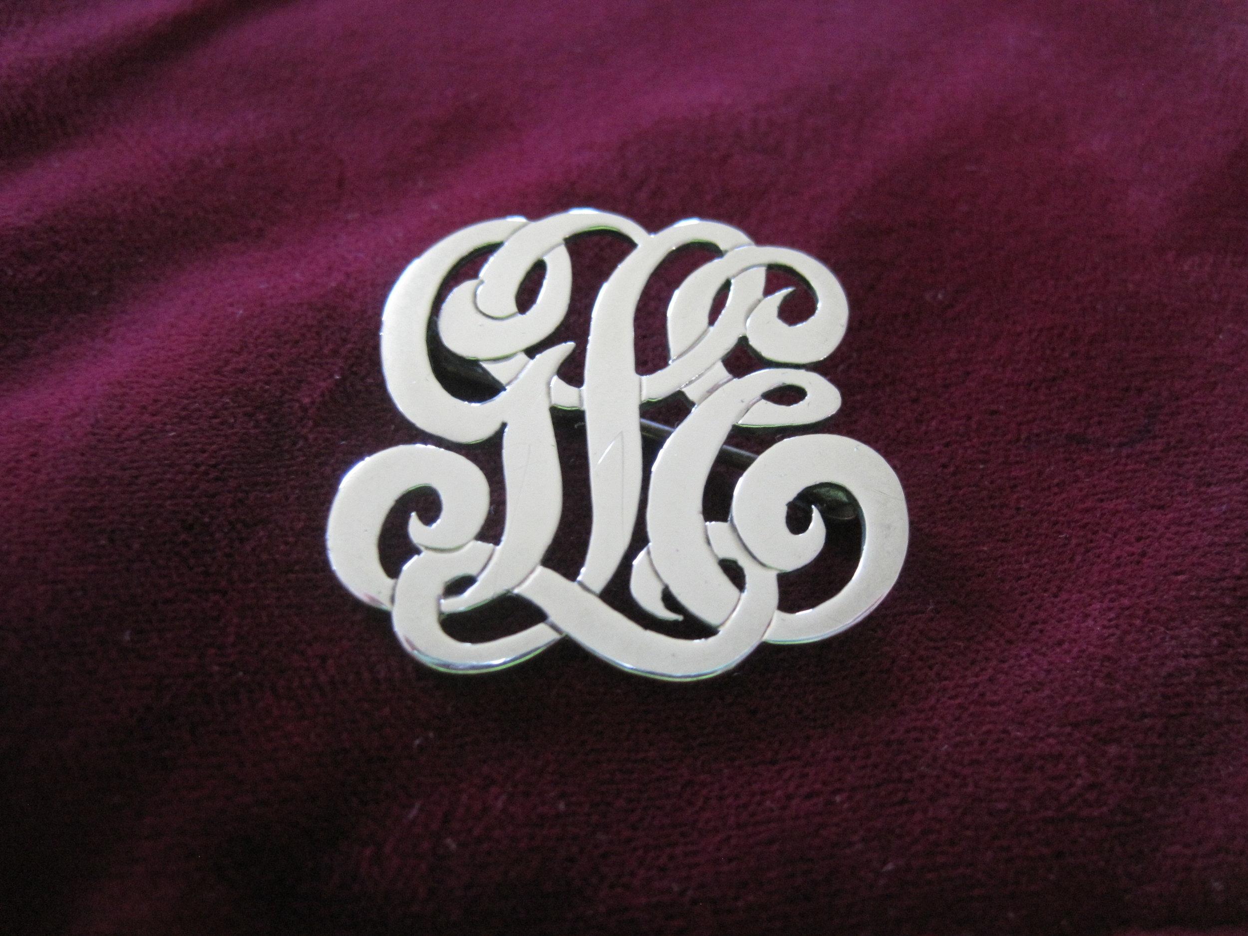 Sterling Silver Handmade Three Initial Monogram Pin