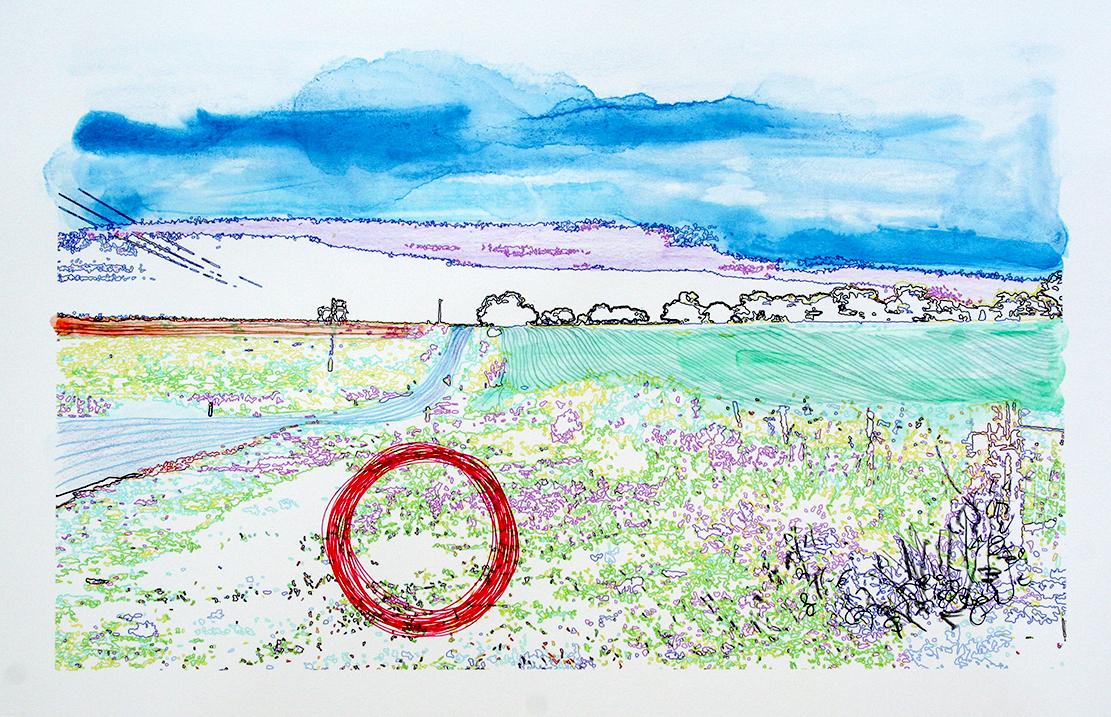 'Bodangora Contour'  mixed media on Hahnemühle photo rag. 24x38cm. 2018