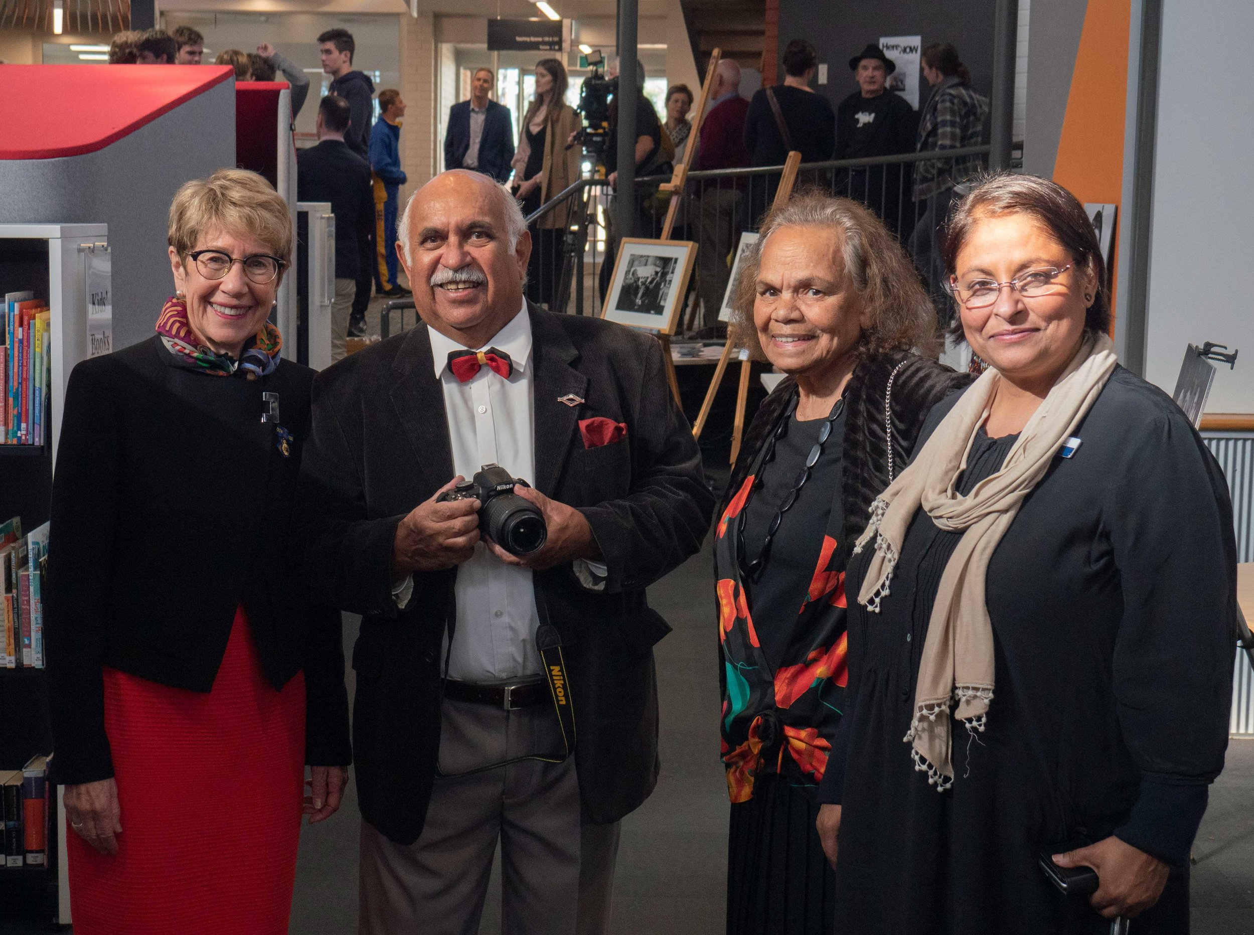 Governor Margaret Beazley, Mervyn Bishop, Aunty Pat Doolan and Gargi Ganguly