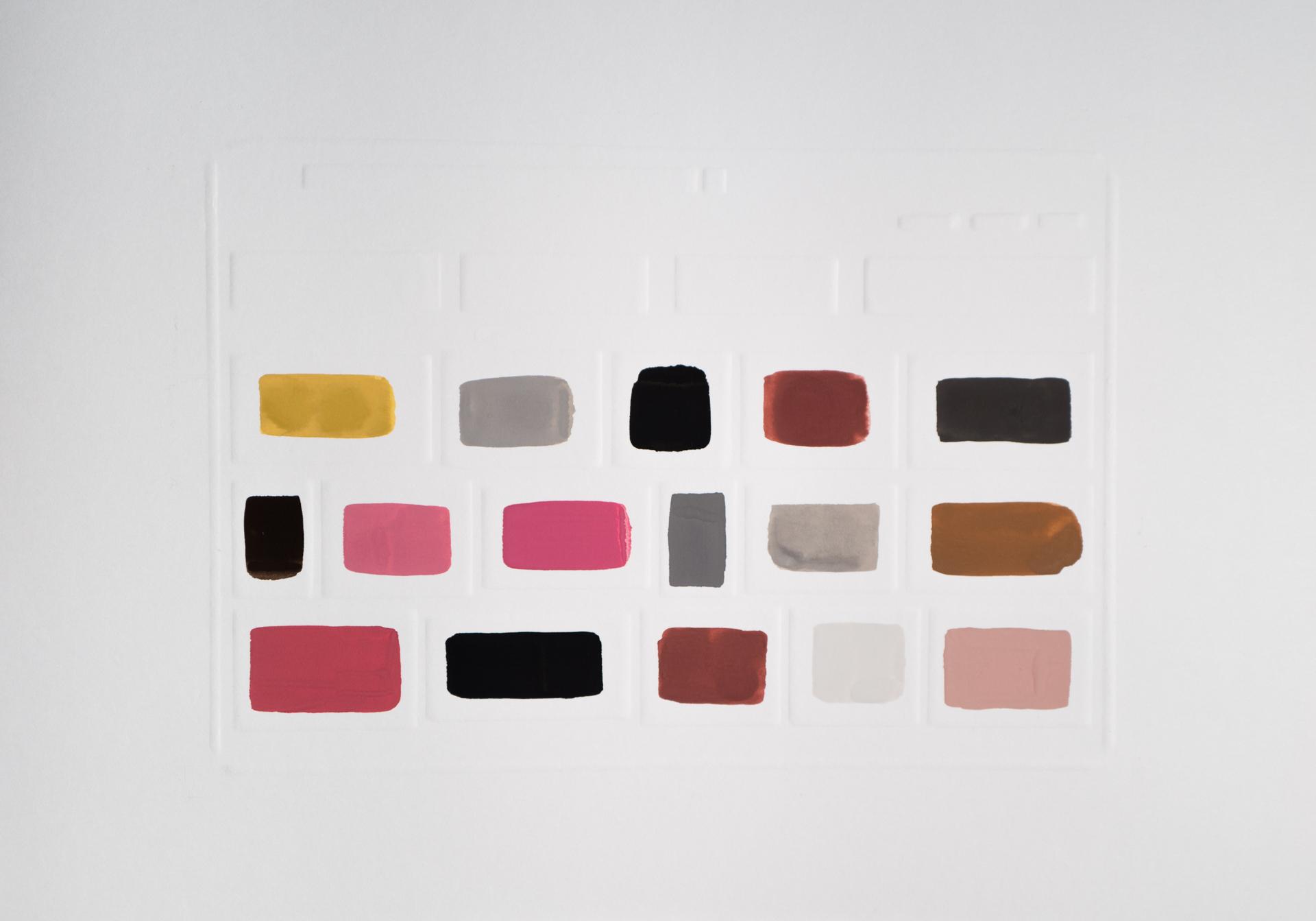 Lust,2017 Gouache on dry embossed paper 42 x 29,7 cm