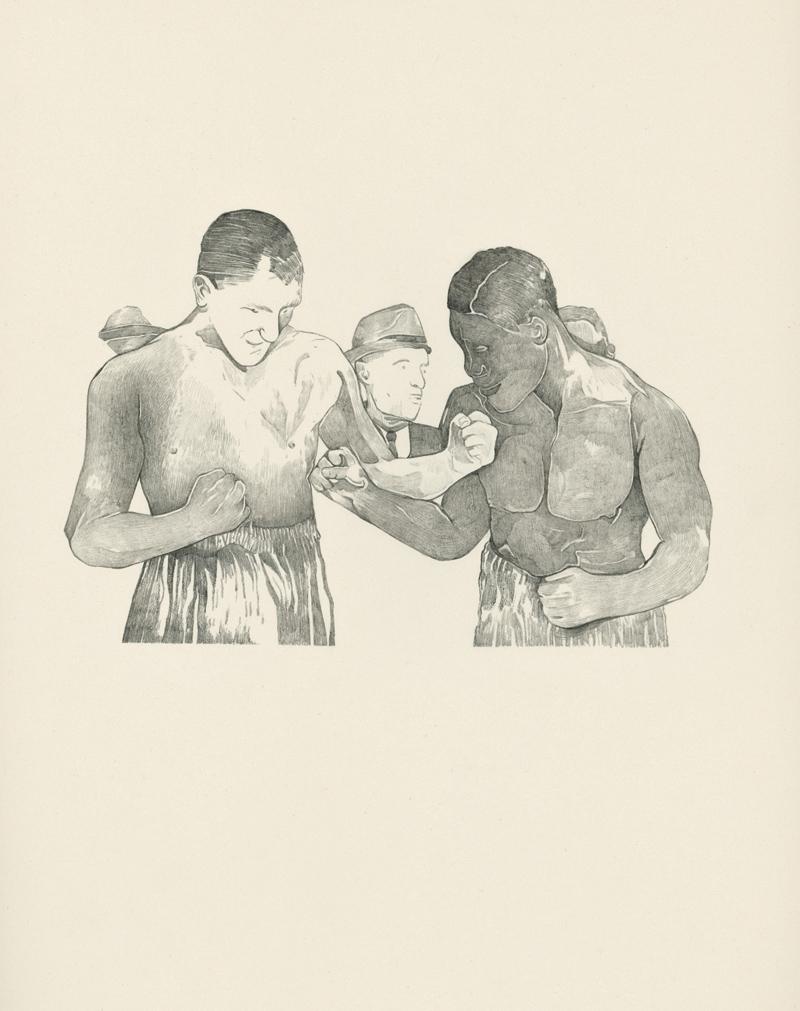 Quelques instants après la pesée, Tommy Farr (à g.) et son adversaire Joe Louis, chacun dans une garde toute amicale.  Crayon gris sur papier, 31x24 cm, 2016