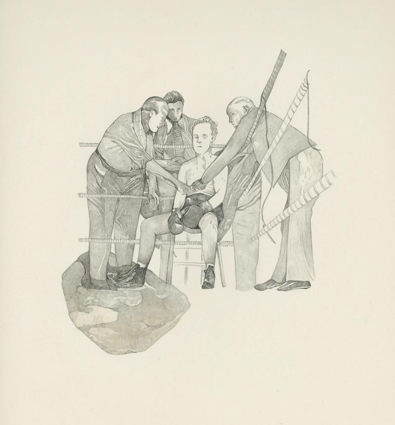 SANGCHILI, frais comme l'œil, surveille le coin adverse et ne semble guère écouter les conseils de Bellières.  Crayon gris et sang sur papier, 31x24 cm, 2016