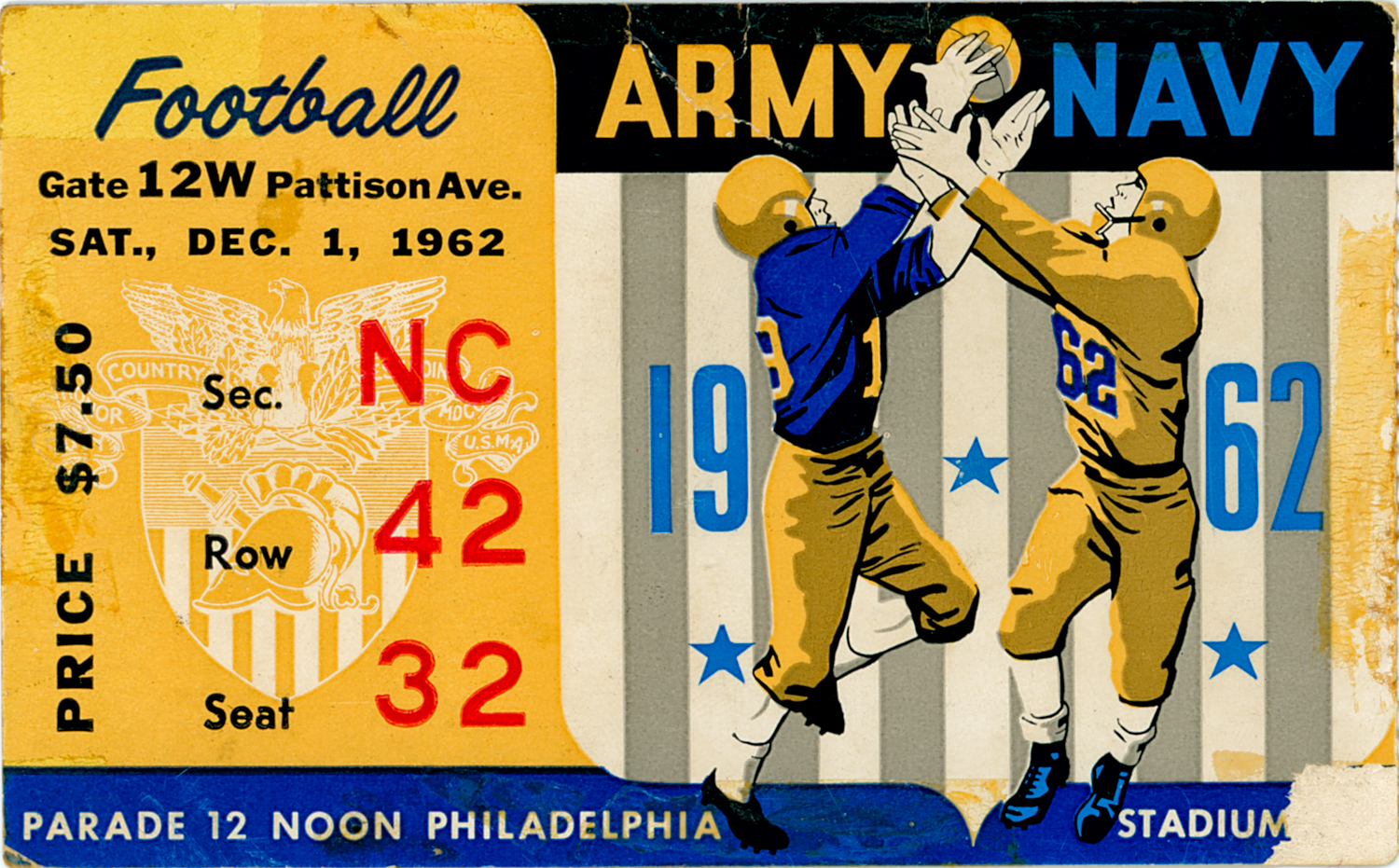 Ticket to the 1962 Army Navy Game