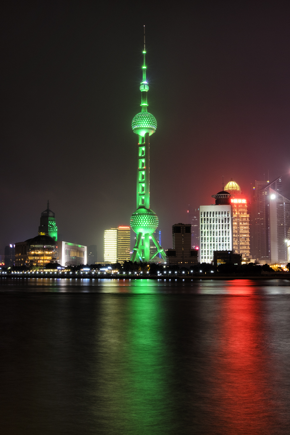 Oriental Pearl Tower, Shanghia, Lit Green for Earth Hour