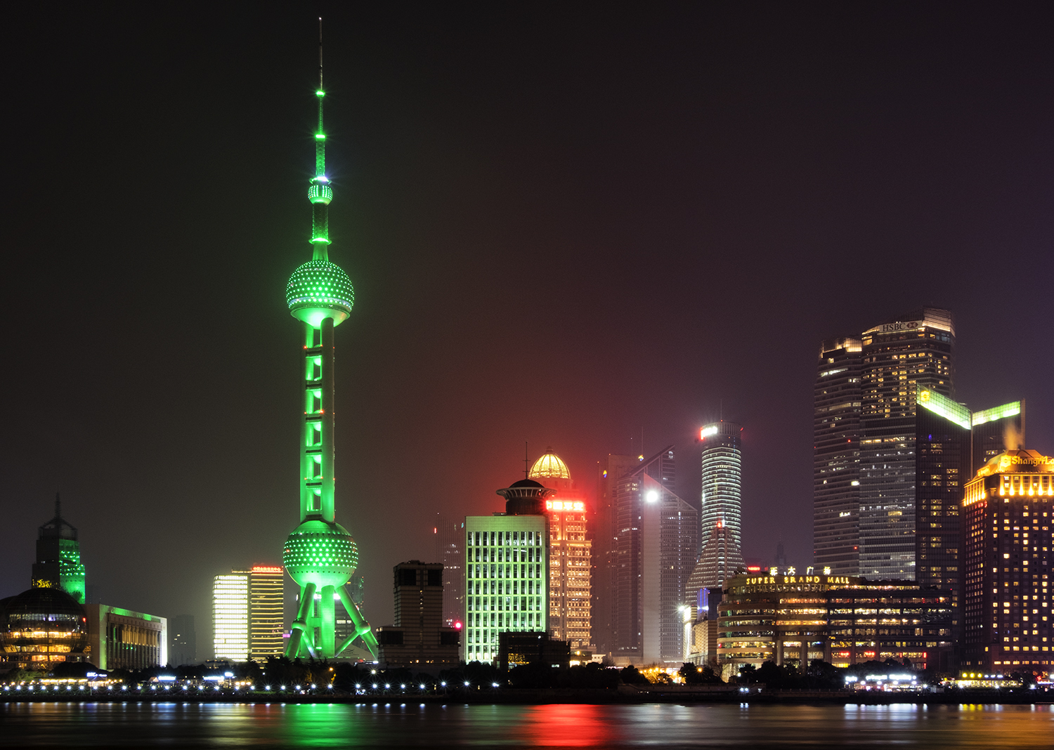 The Pudong Skyline, Shanghai, Lit Green for Earth Hour
