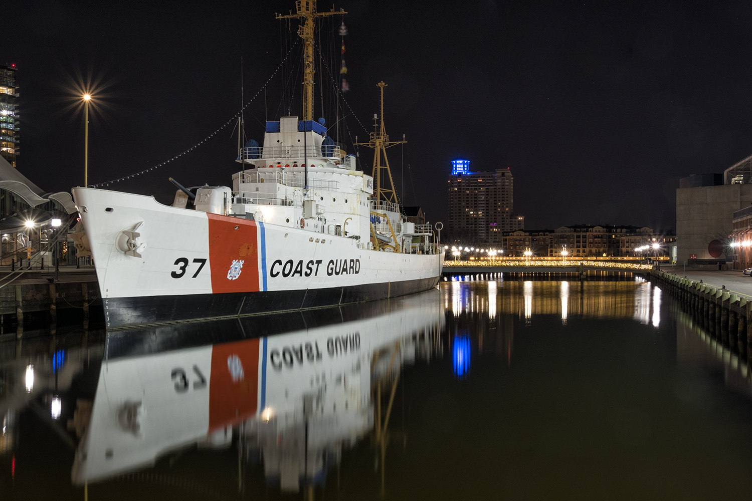 USCGC Taney in Baltimore Harbor, February Morning