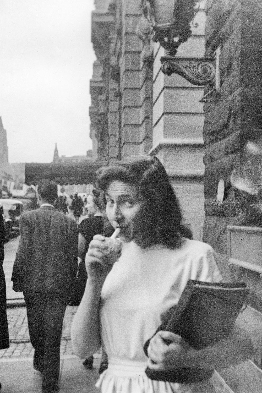 Anne Adalman enjoying a lemon stick in downtown Baltimore