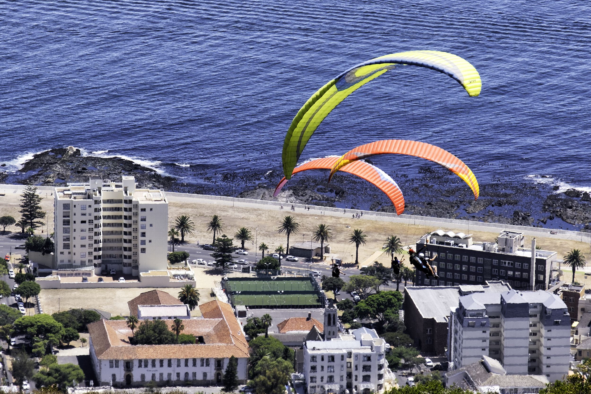 Hang Gliders over Sea Point, Cape Town, South Africa