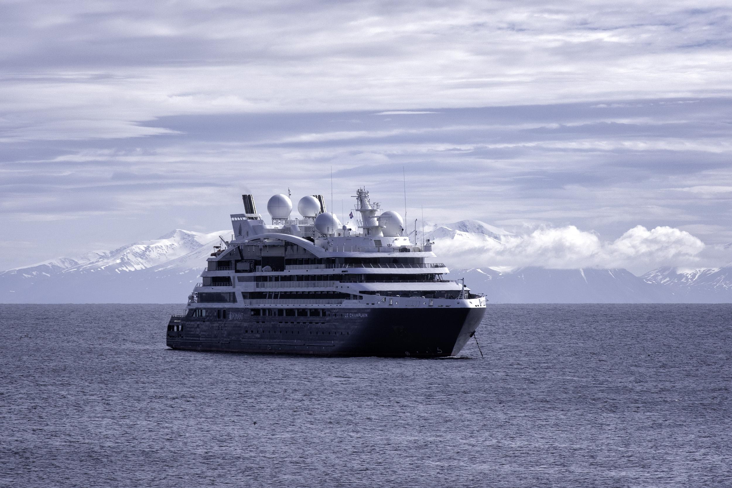 Le Champlain at anchor at Grimsey Island