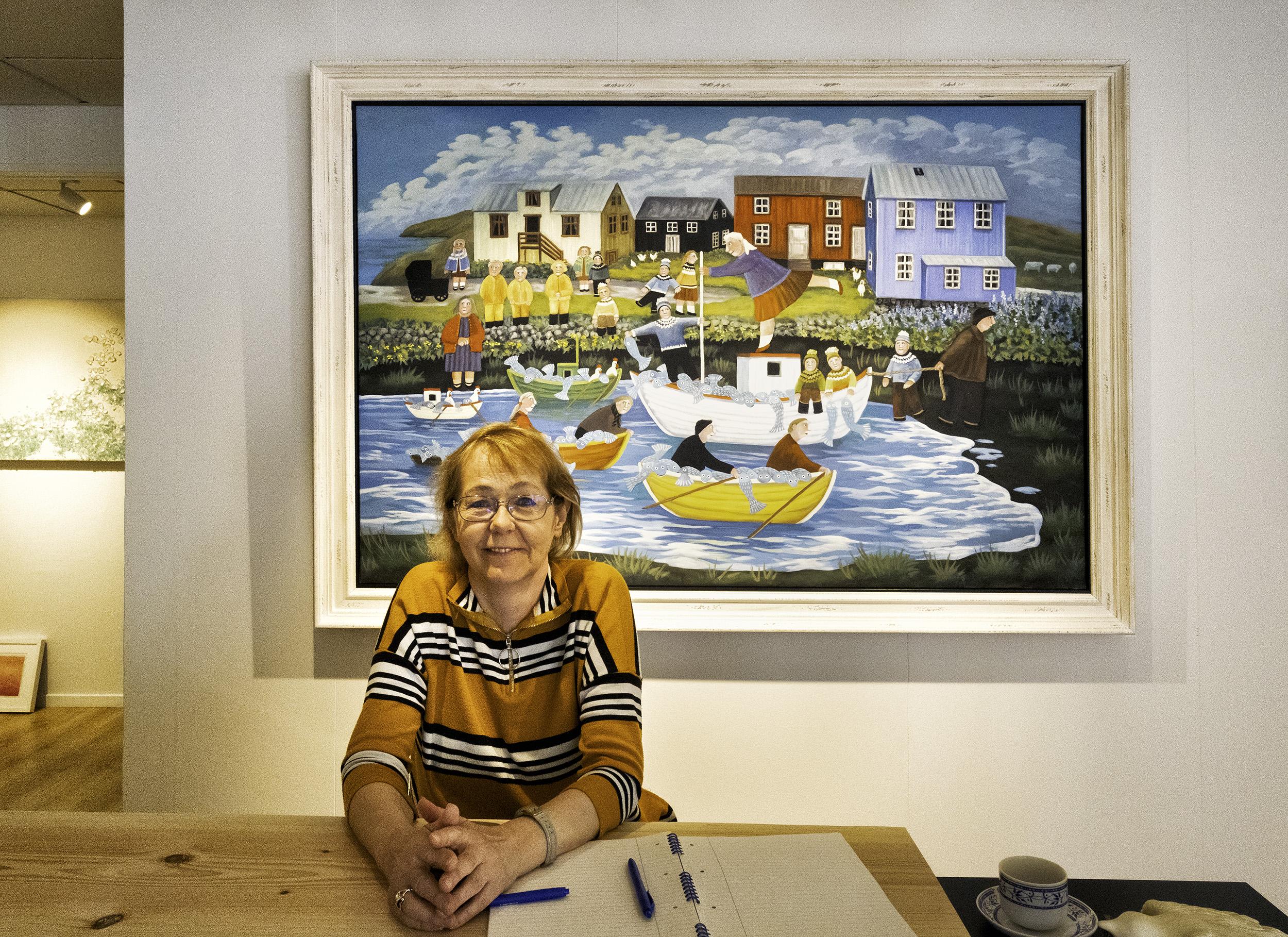 The artist Gunnella in her gallery in Reykjavik