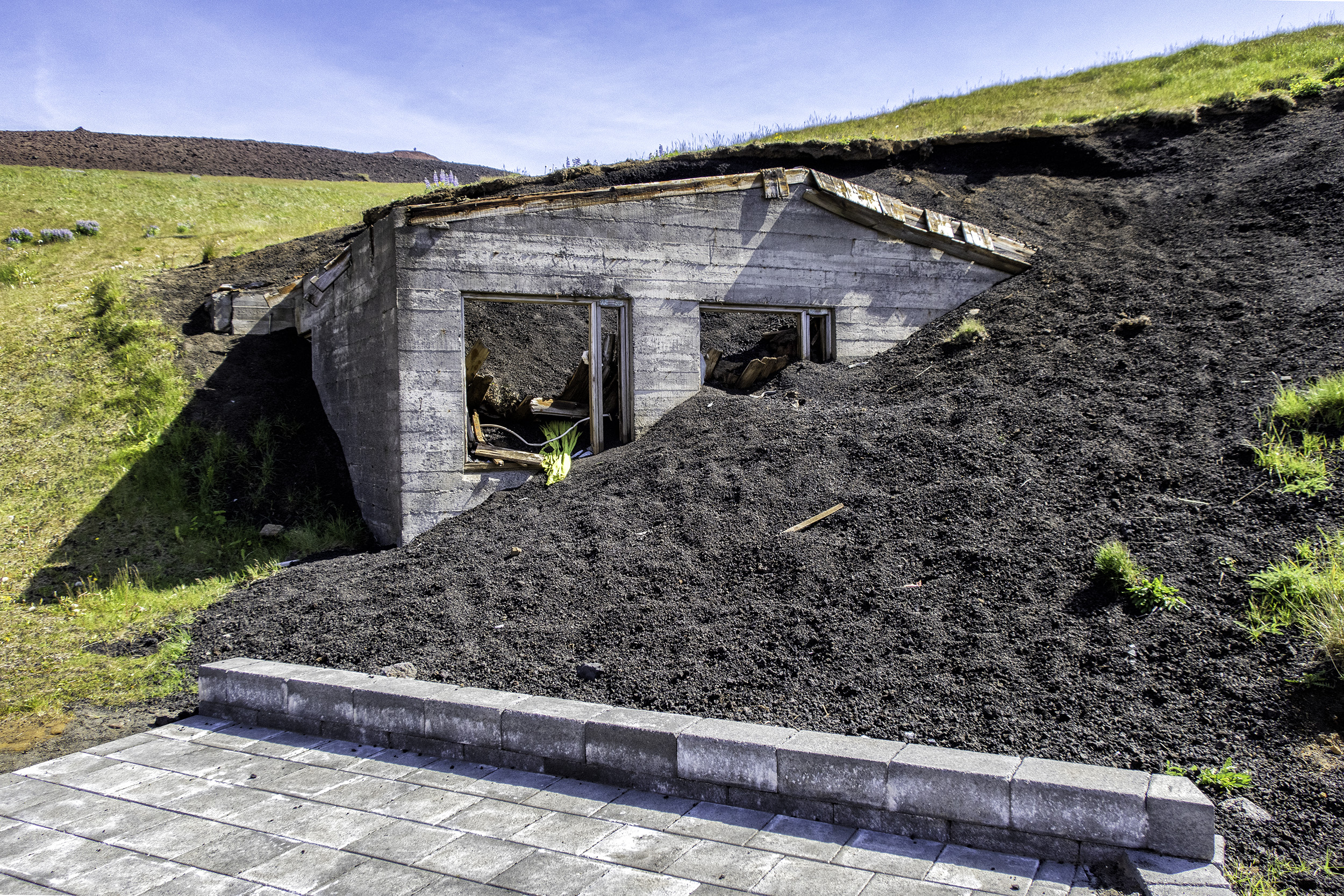 House buried by the eruption of Eldfell Volcano on Heimaey Island, Iceland