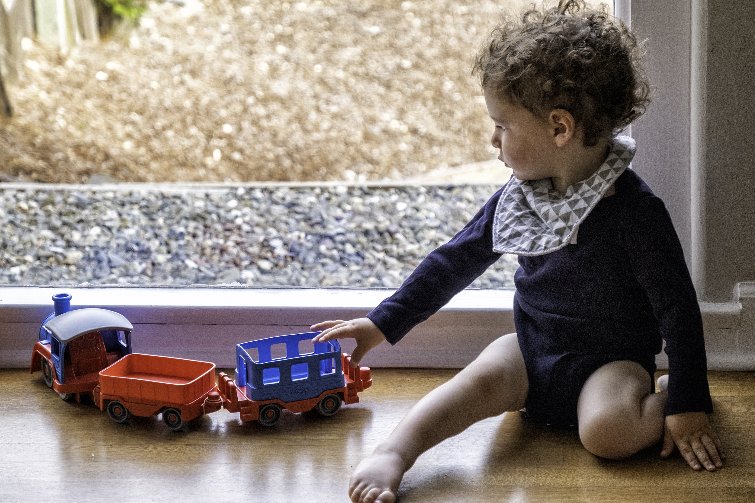 Eli with his new train
