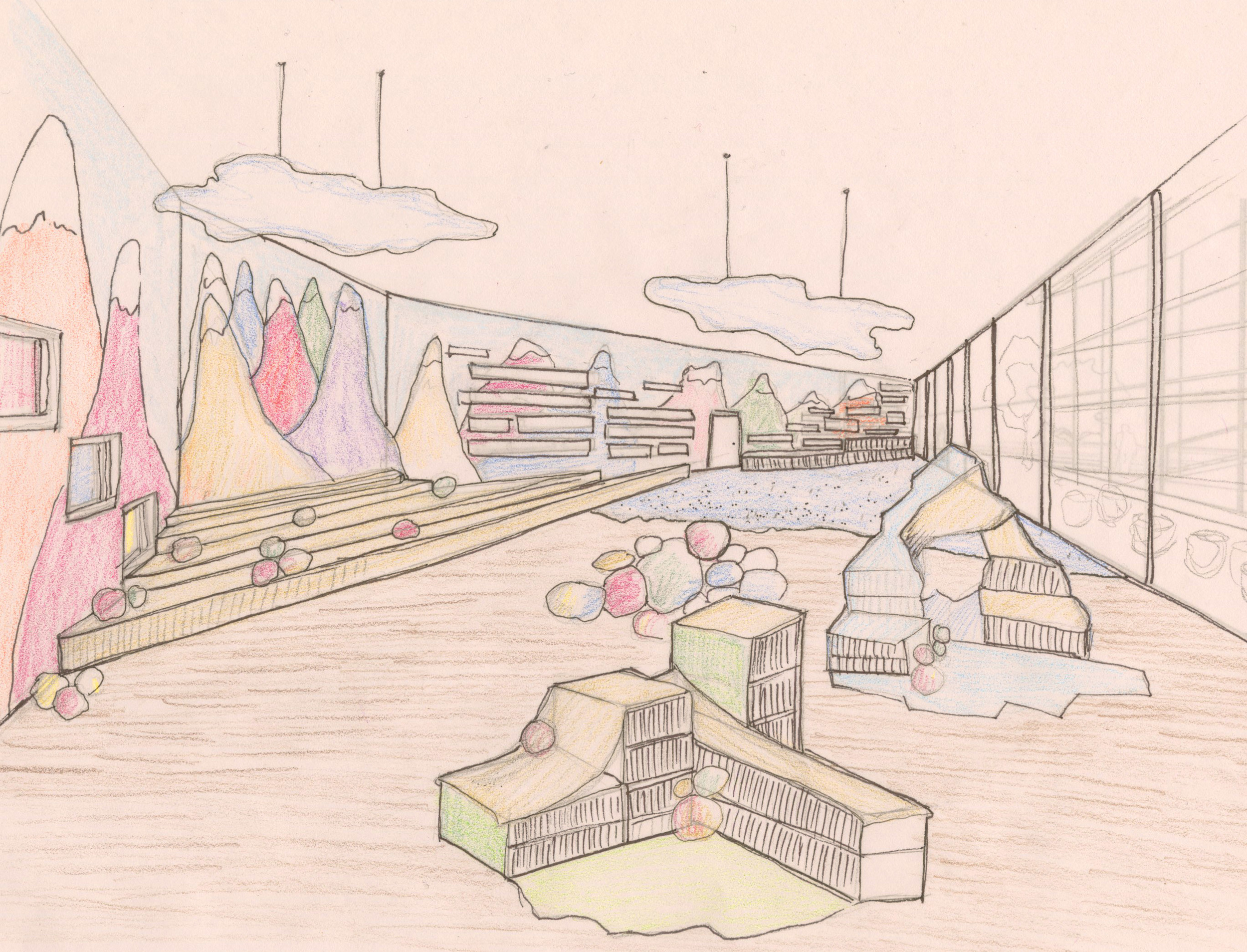 Concept sketch of the interior of The Summit's children's library