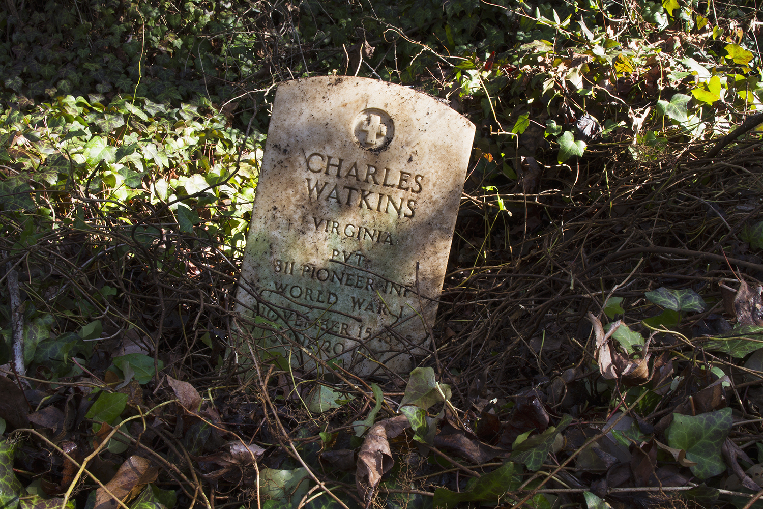 Recently revealed grave of Charles Watkins in a largely uncleared section of East End Cemetery, January 2015.©brianpalmer.photos 2015