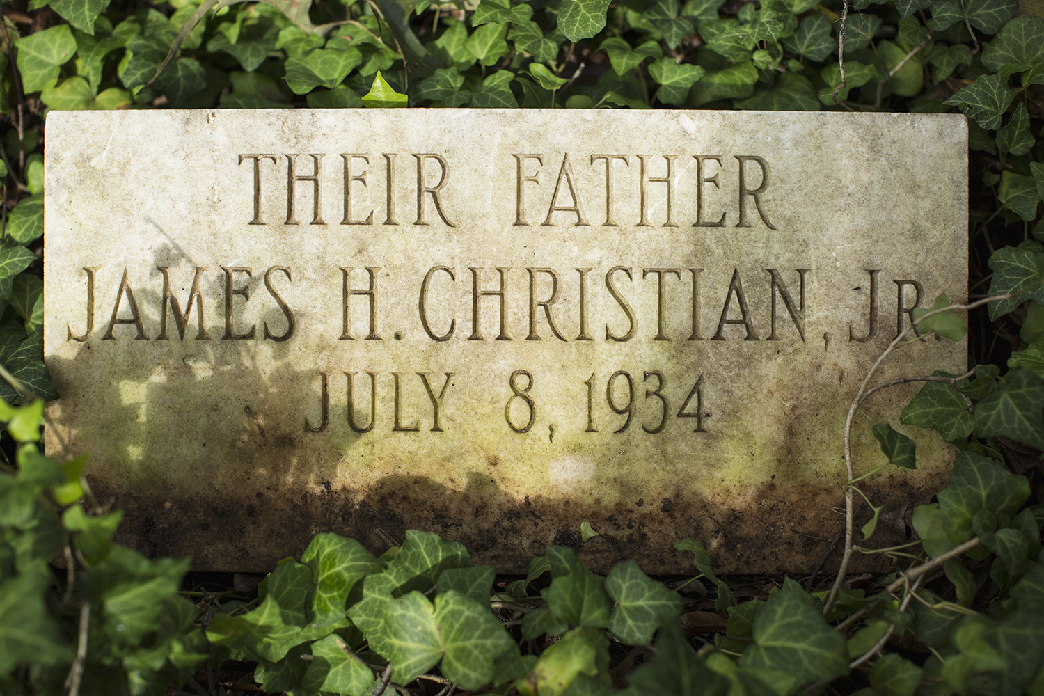 James Christian grave marker, cleared of vines. East End Cemetery, Henrico County, Virginia, October 2015. Photo: ©BP