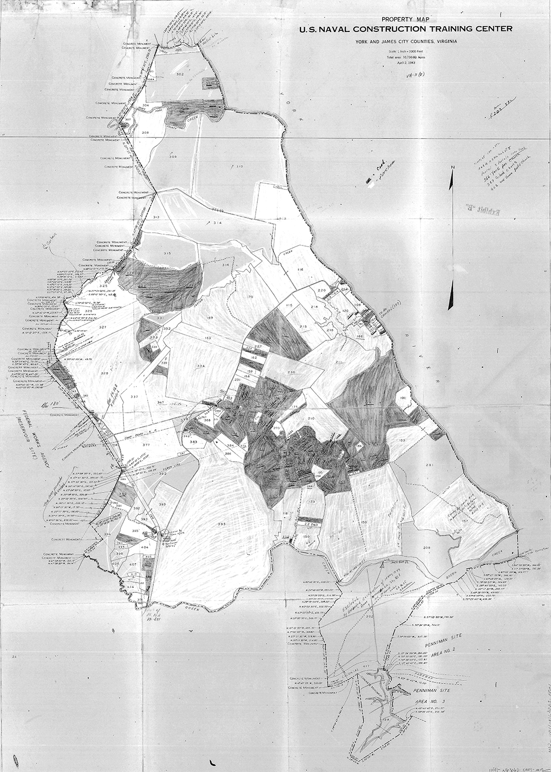 Map of property in the Magruder, VA, area condemned and taken by the U.S. government to build the naval construction training center at Camp Peary, April, 2, 1943
