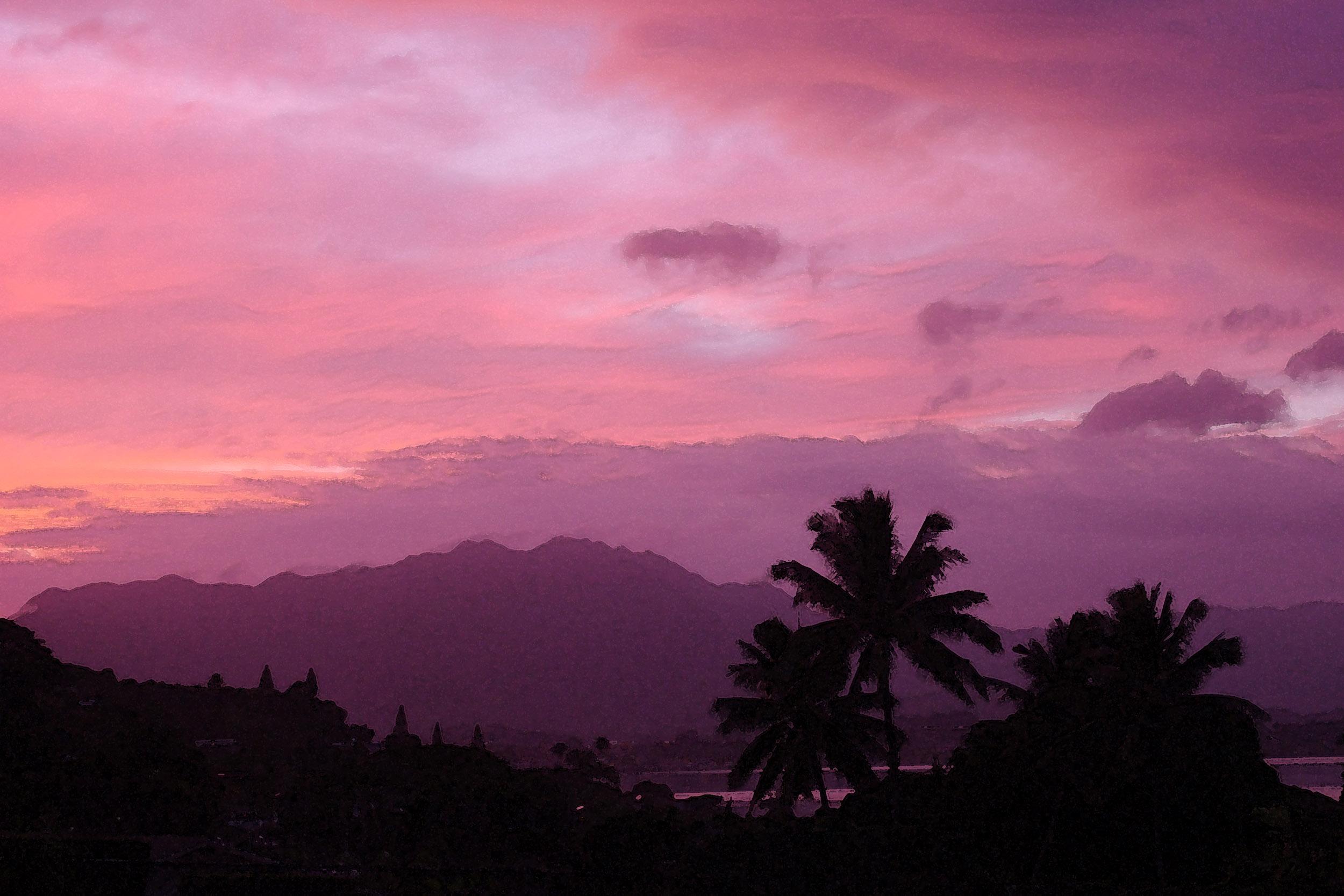Pink dusk on Kaneohe bay 24X36 watercolor WEBSITE.jpg