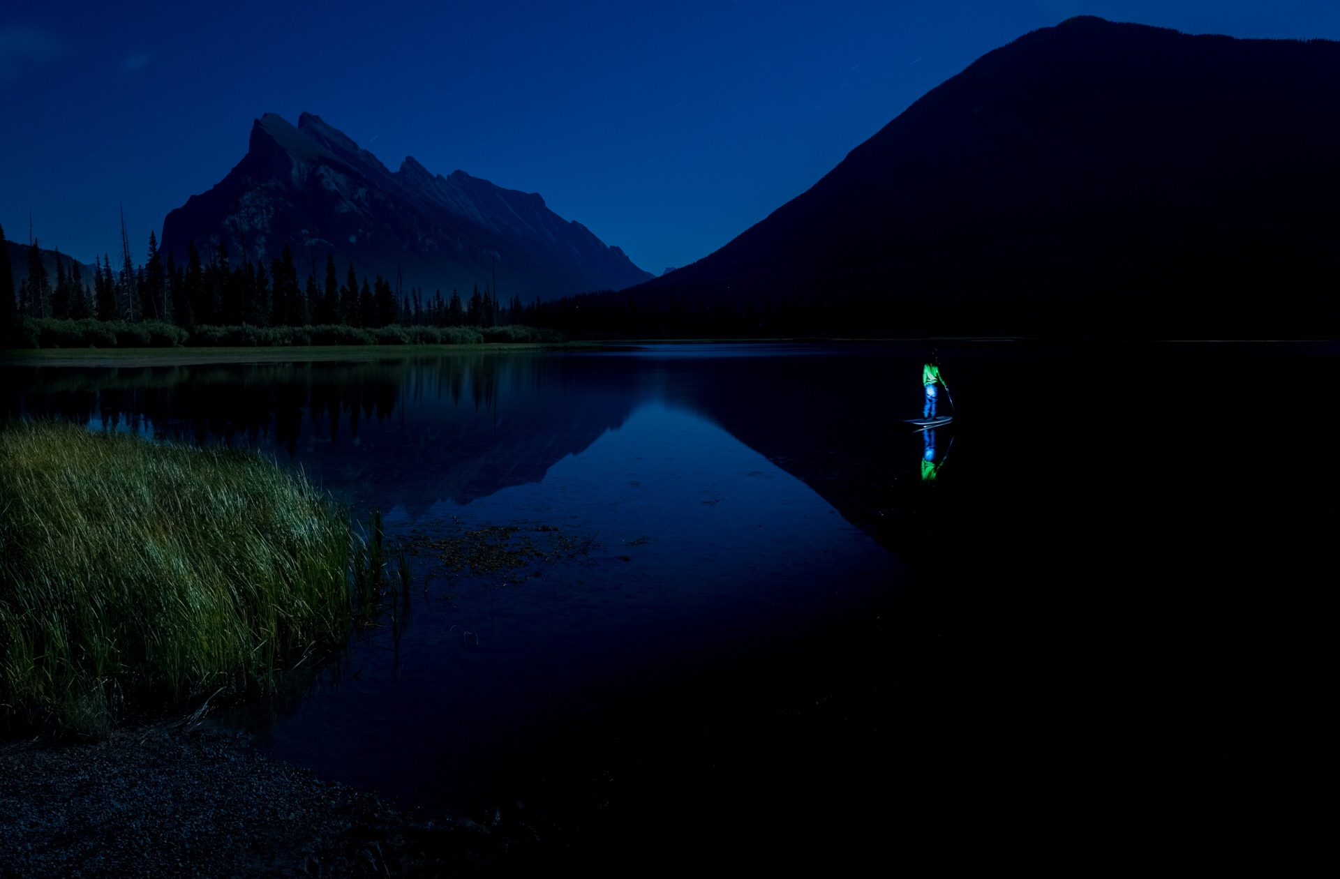 Night shot long exposure Banff National Park Canada – Vermilion lakes - gregg jaden visuals