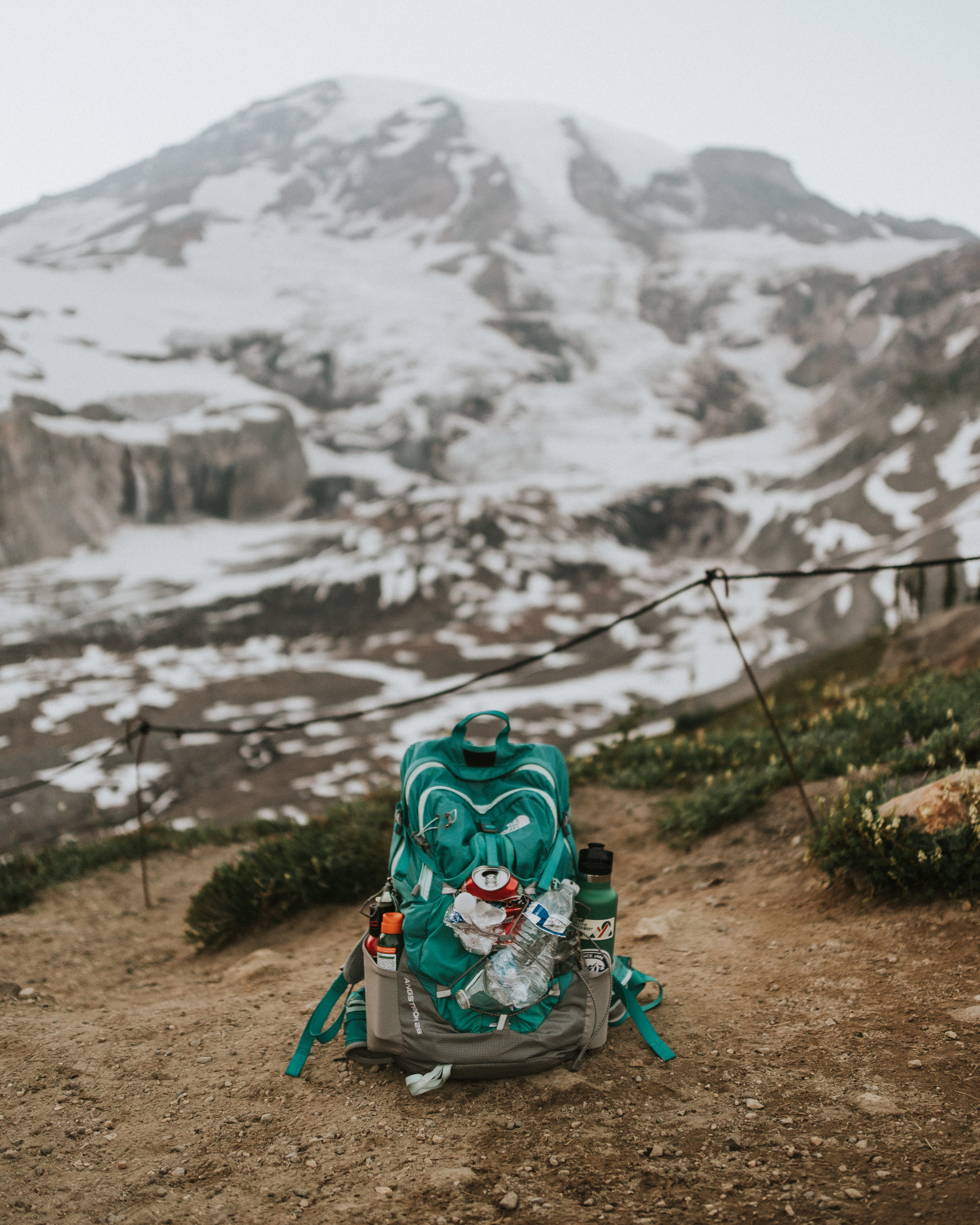 Trash strapped to my backpack on a short hike at Mt. Rainier