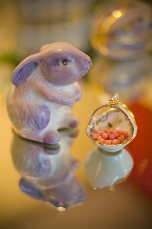 Coelhinho de Porcelana e Cestinha Borboleta